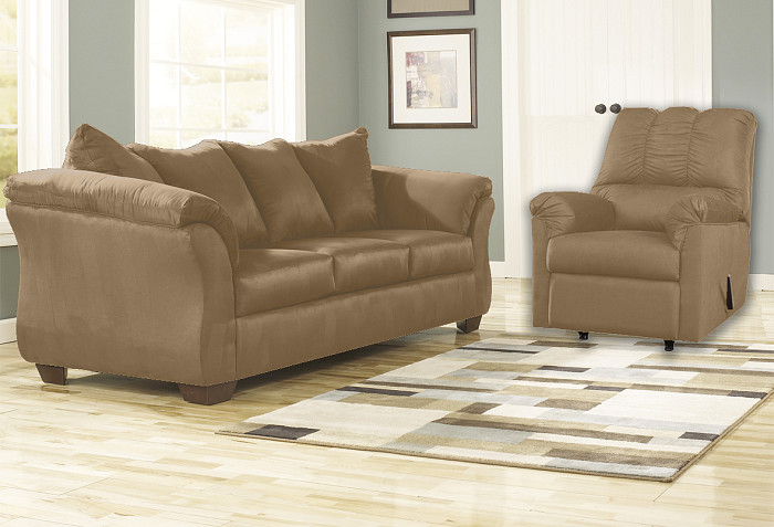 Remarkable Darcy Mocha Sofa And Rocker Recliner Majik Rent To Own Home Remodeling Inspirations Basidirectenergyitoicom