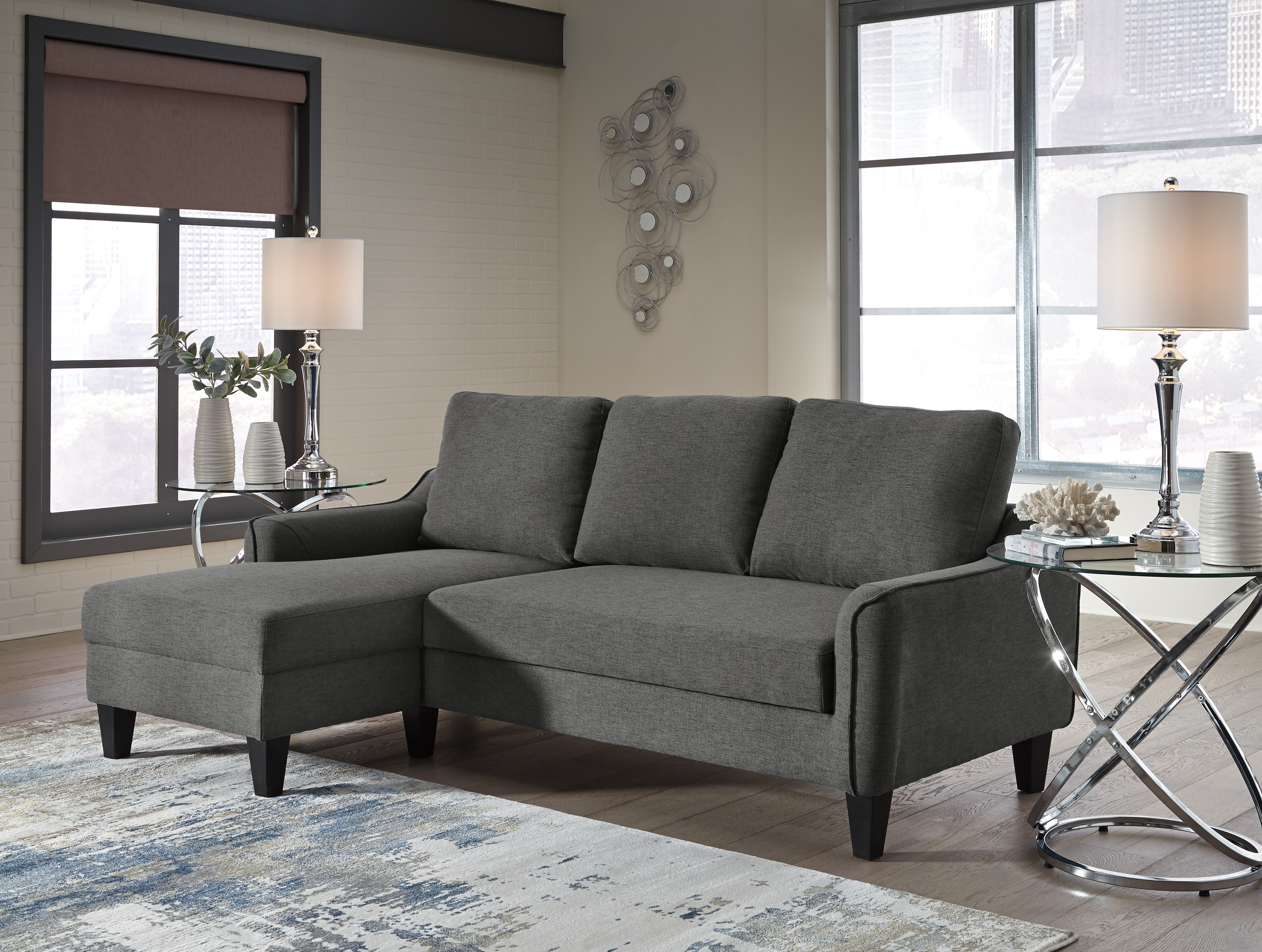 the latest f9aca 939a6 Jarreau Gray Sofa Chaise Sleeper | Majik Rent To Own