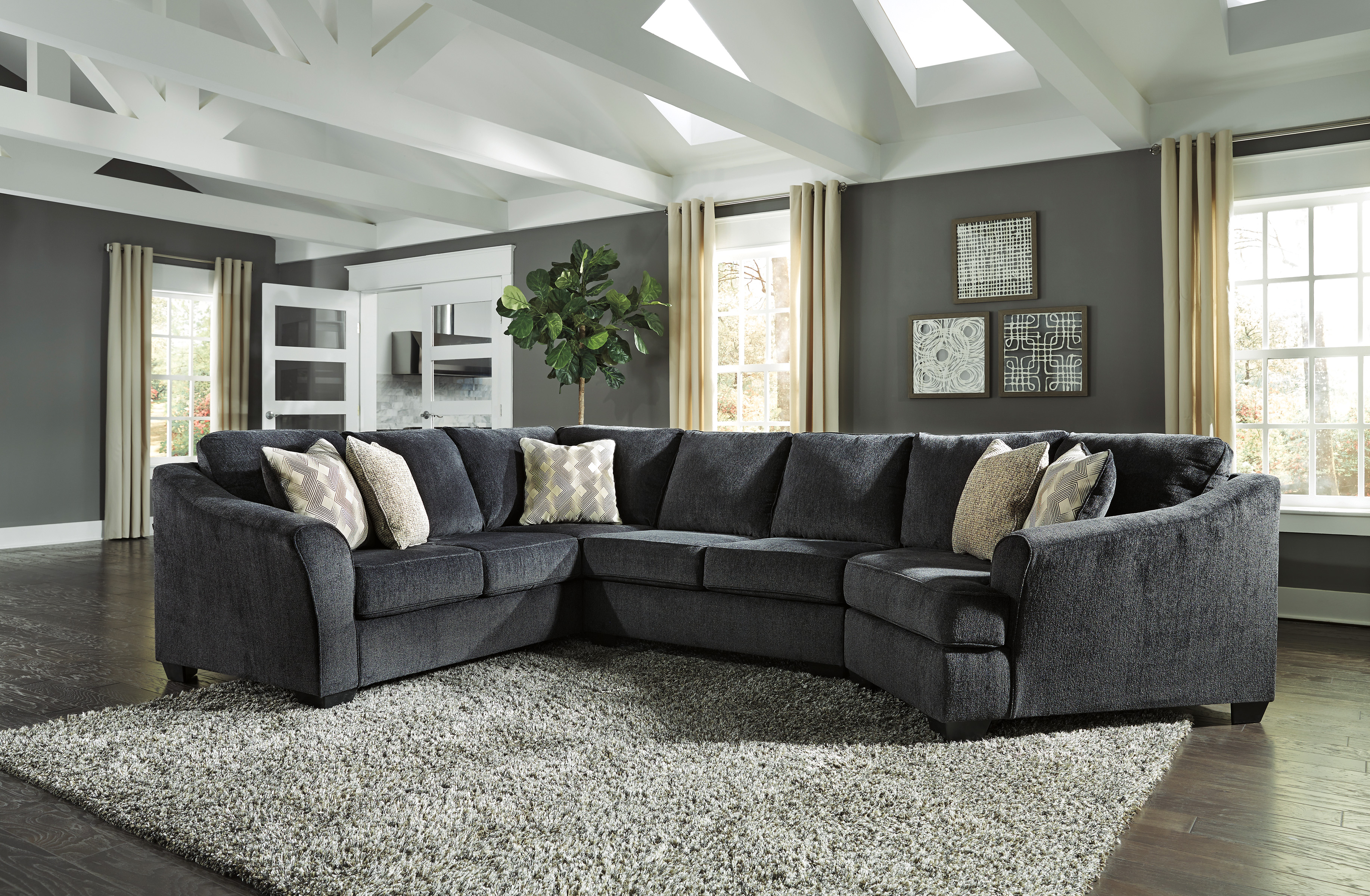 Eltmann Slate Sectional With Right Side Cuddler  / $30.59 A Week