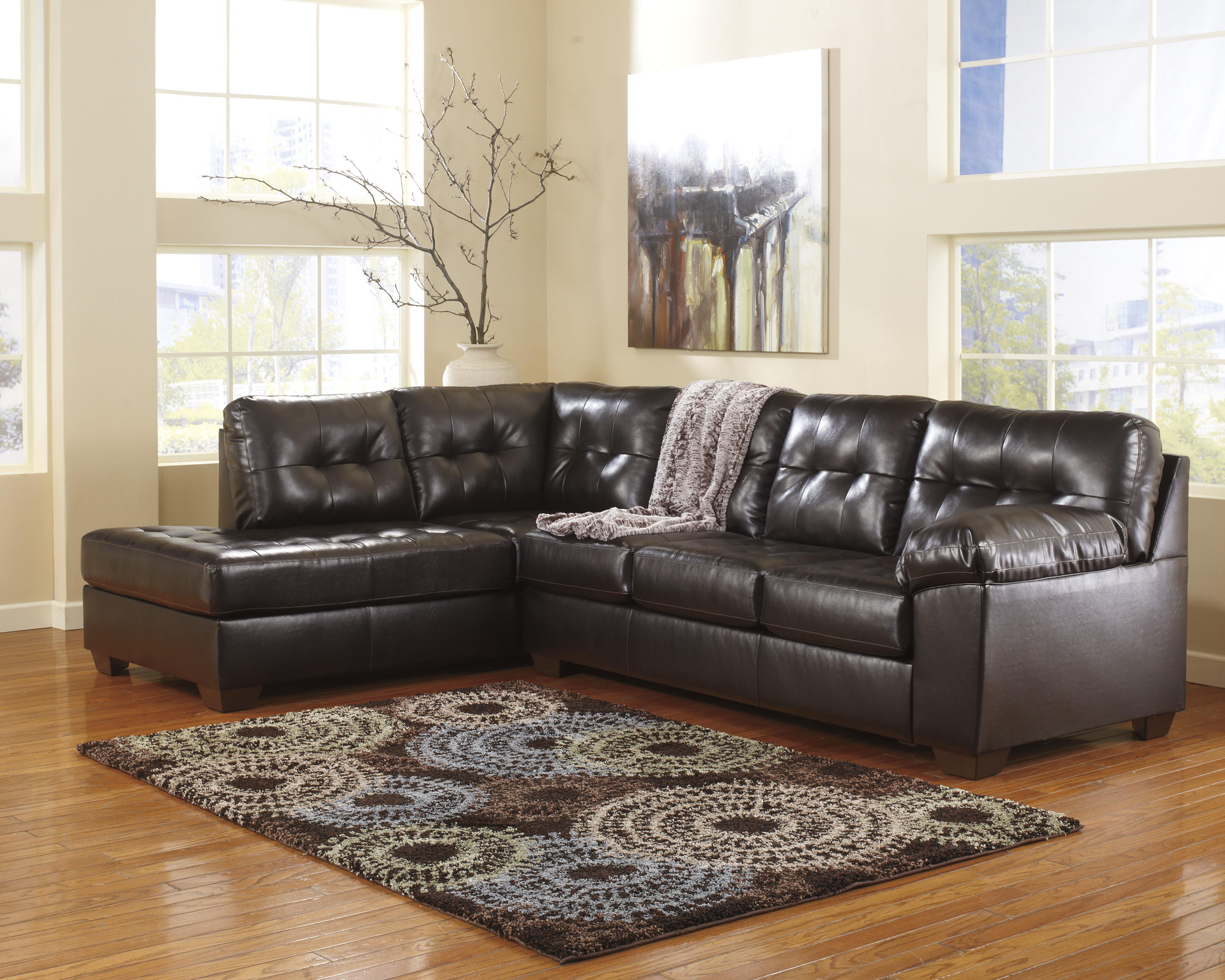 Alliston DuraBlend Chocolate Sectional With Left Chaise  / $23.99 A Week