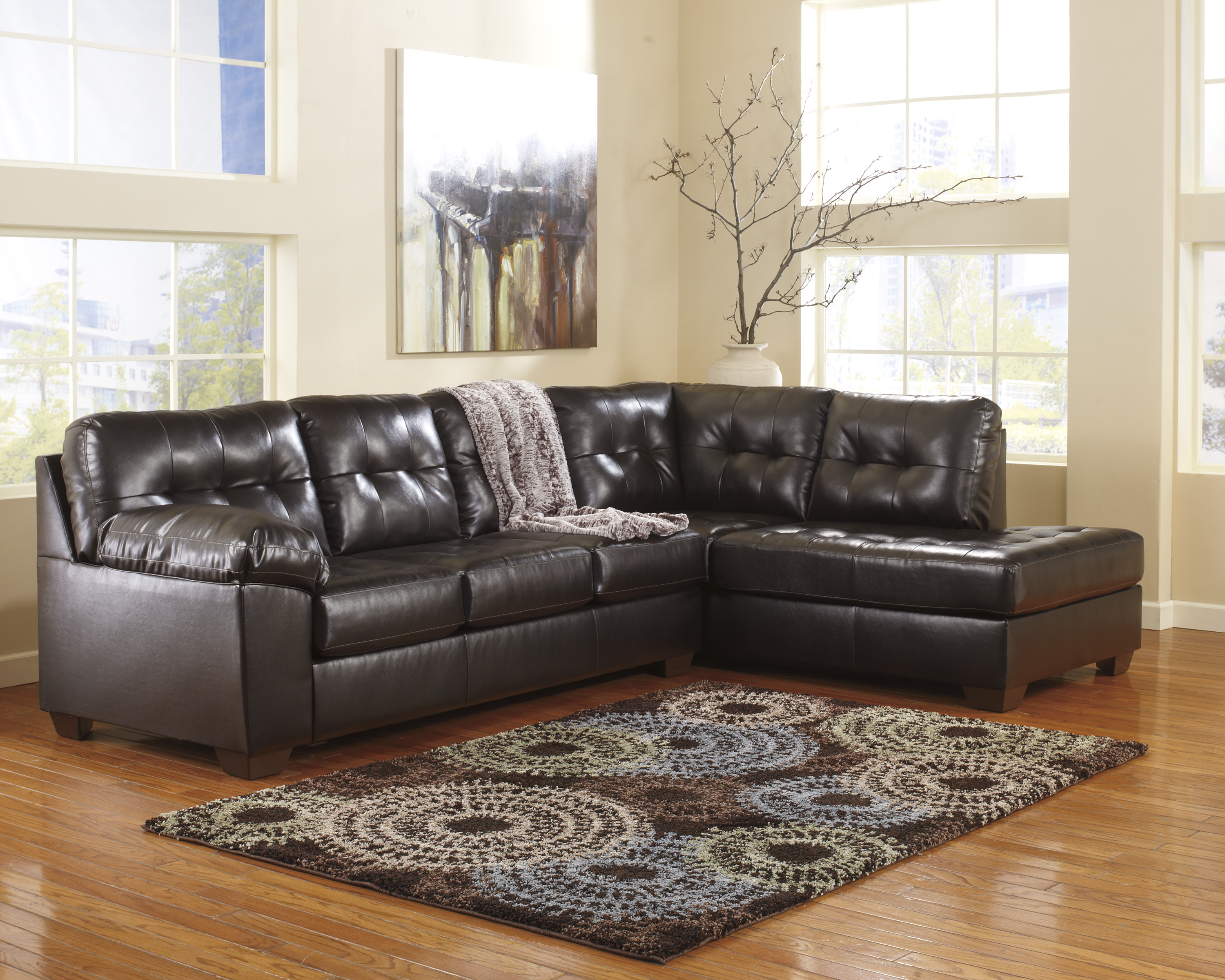 Alliston DuraBlend Chocolate Sectional With Right Chaise  / $23.99 A Week