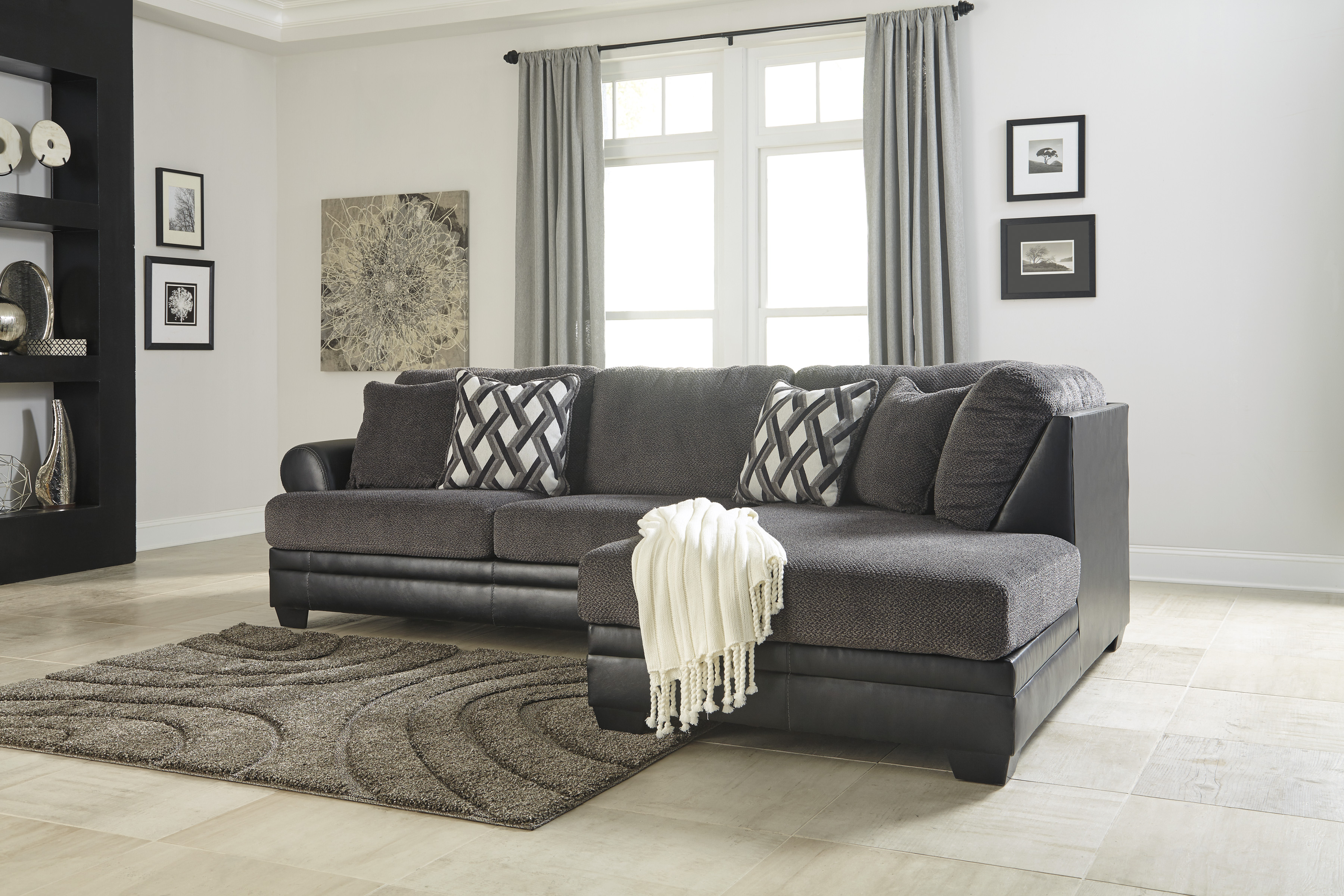 Majik Kumasi Grey Sectional With Right Chaise Rent To Own Furniture In Pennsylvania