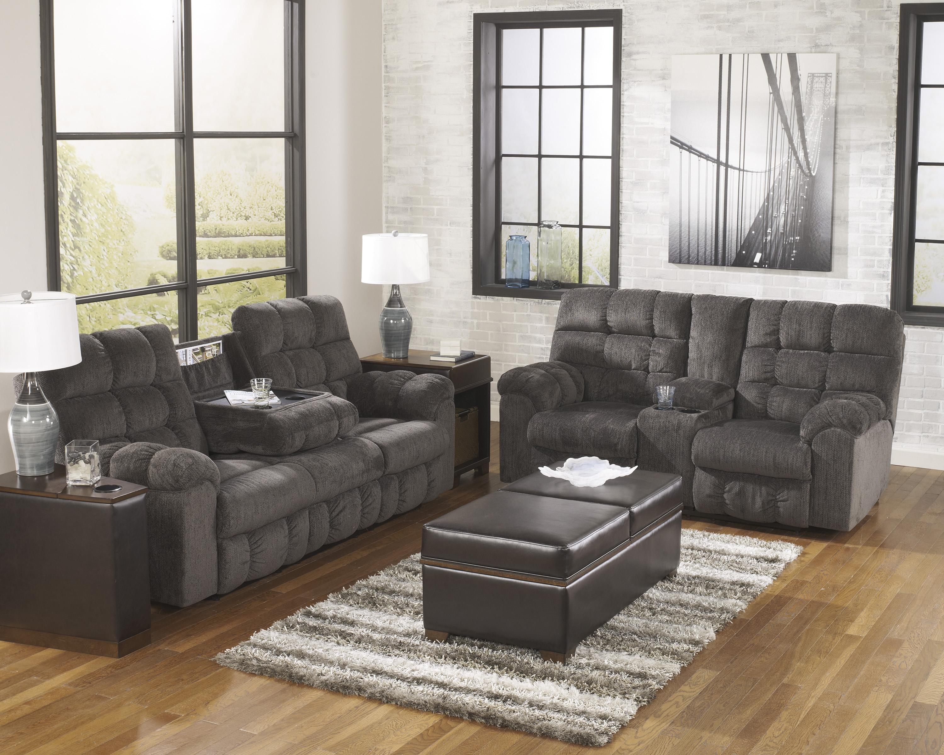 Acieona Slate Reclining Sofa With Drop Down Table and Reclining Loveseat With Console  / $35.99 A Week