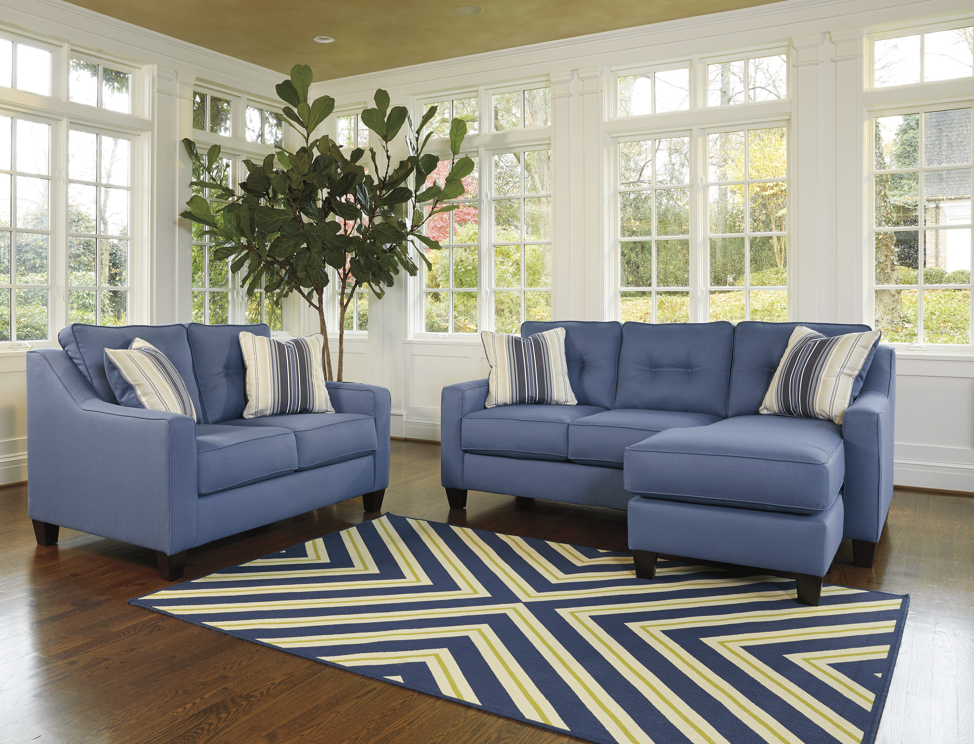 Aldie Nuvella Blue Sofa Chaise and Loveseat  / $27.99 A Week