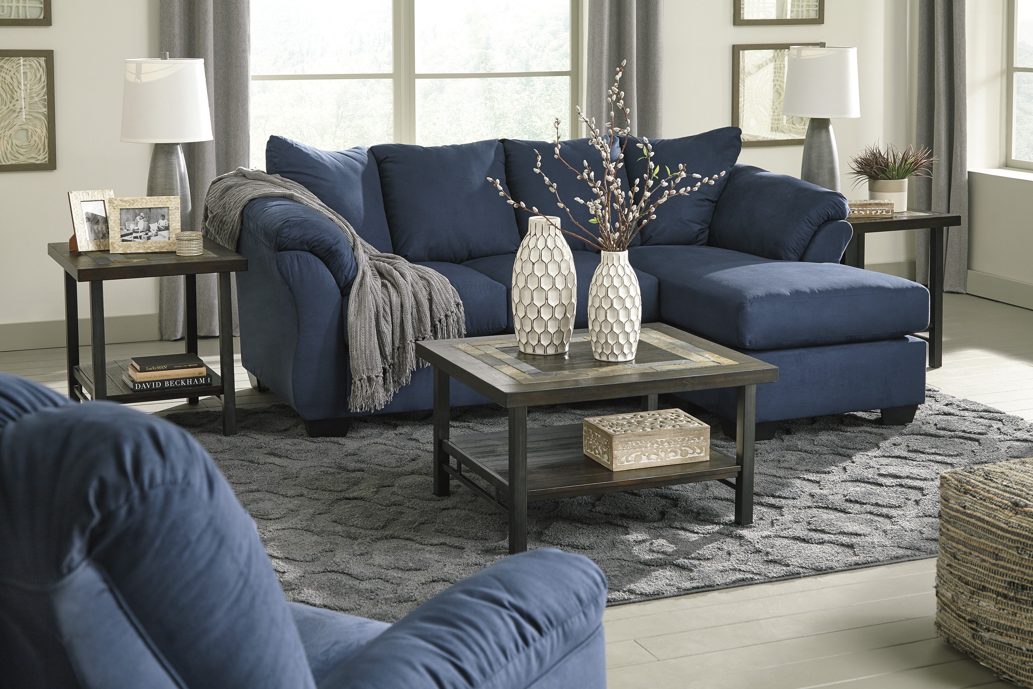 Darcy Blue Sofa Chaise and Loveseat  / $23.99 A Week