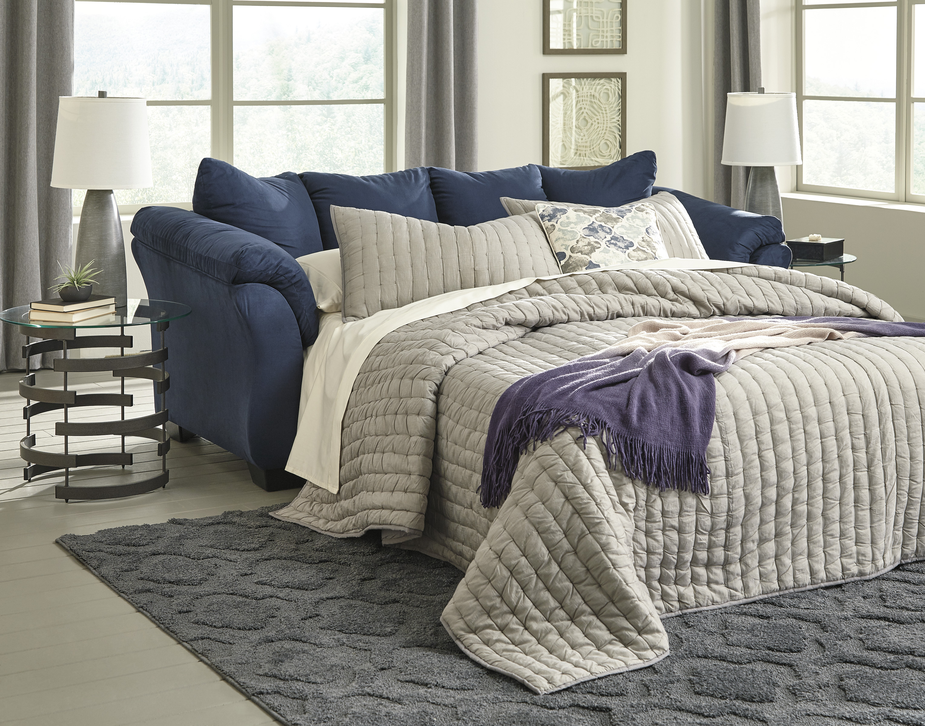 Majik Darcy Blue Full Size Sleeper Sofa Rent To Own