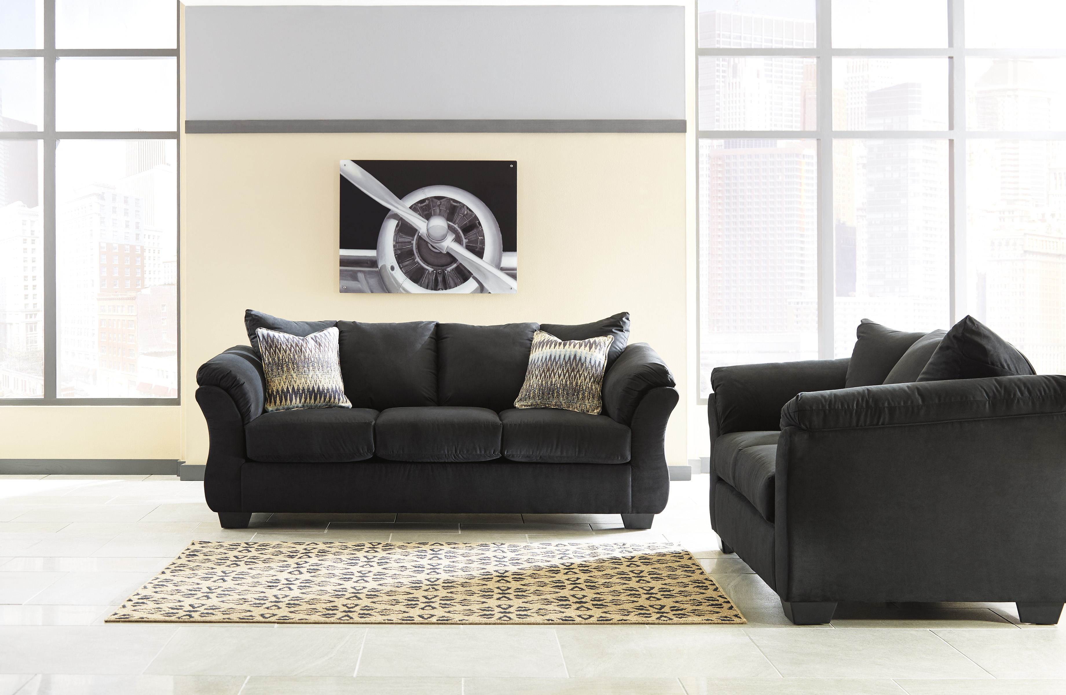 Majik Darcy Black Sofa And Loveseat Rent To Own