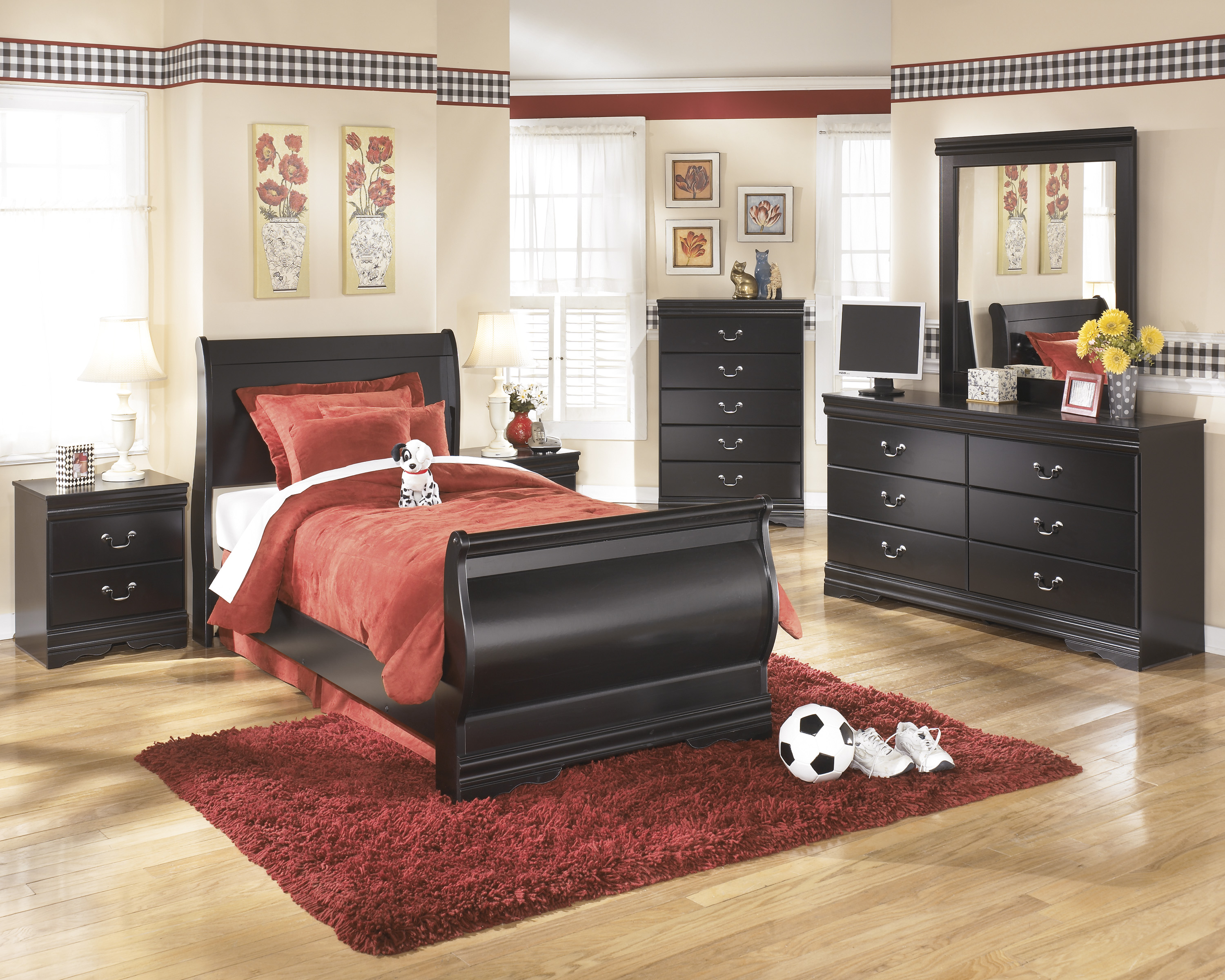 Huey Vineyard Twin Sleigh Bed, Dresser & Mirror  / $18.99 A Week