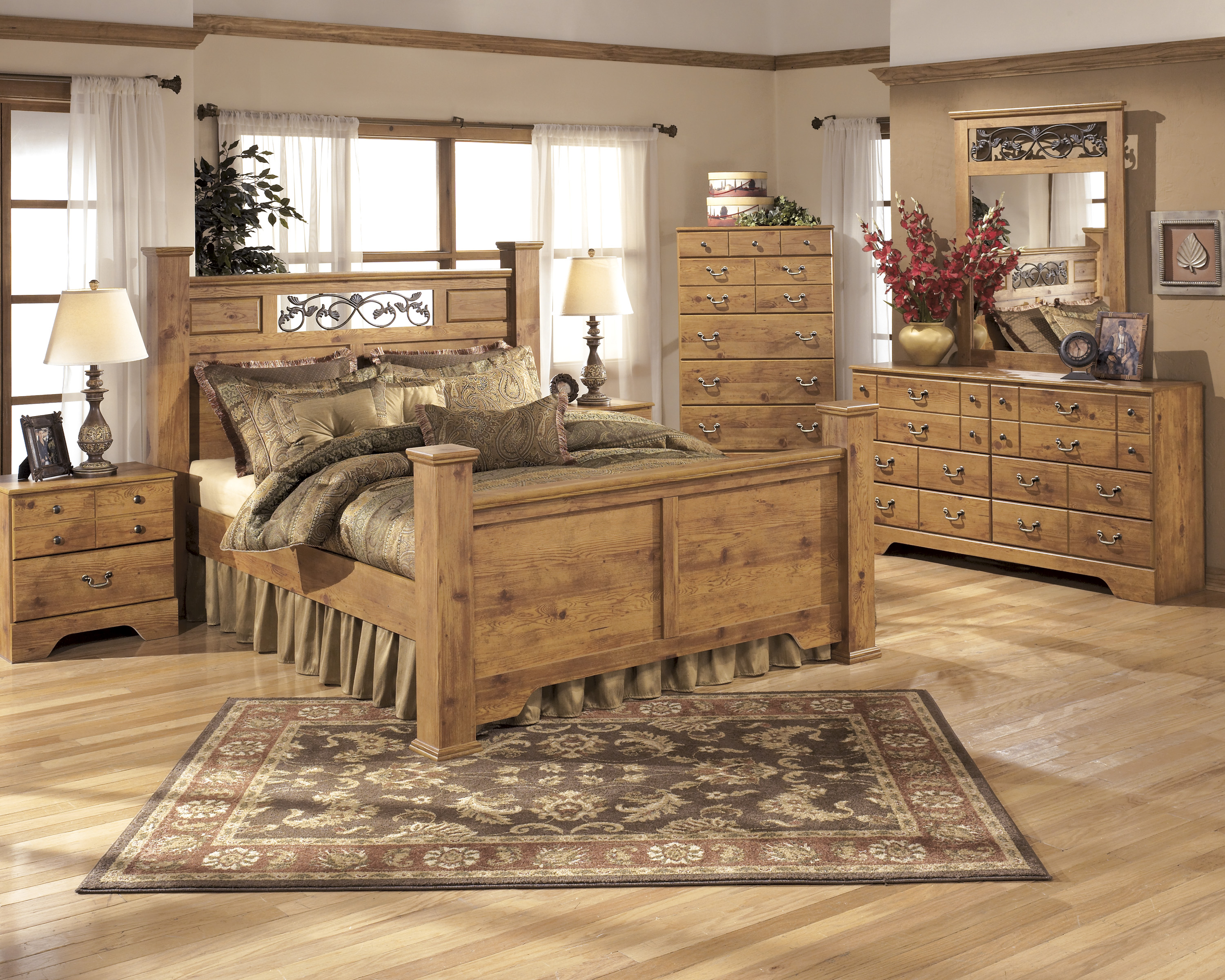 Bittersweet King Poster Bed, Dresser,  Mirror, Chest & Nightstand  / $34.99 A Week