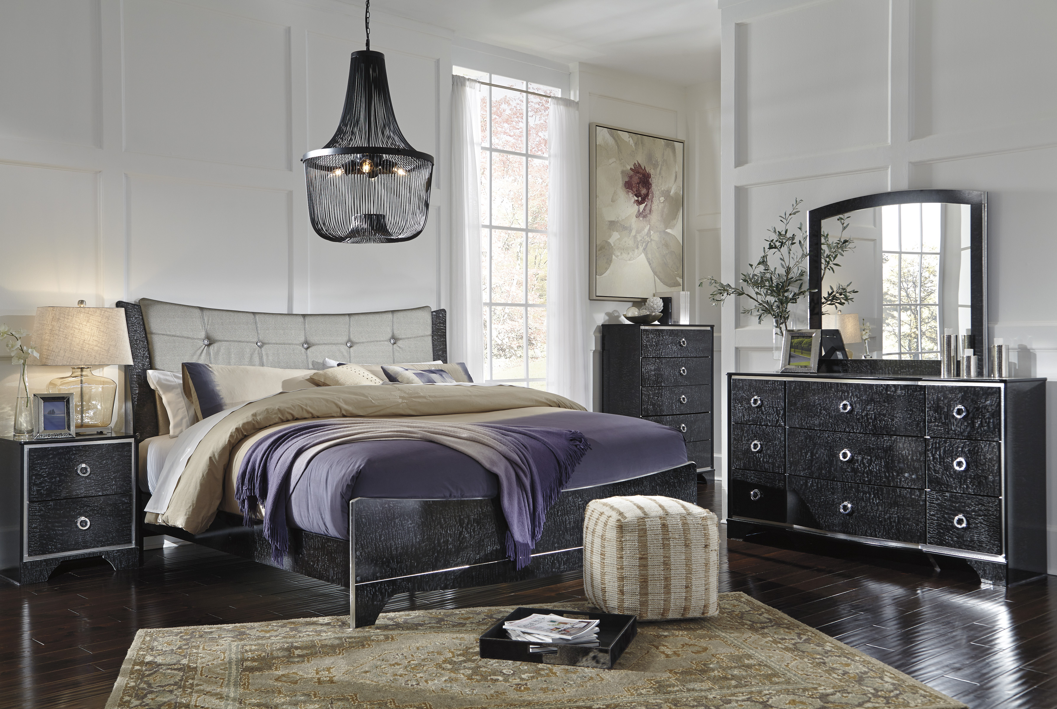 Amrothi King Upholstered Bed, Dresser, Mirror, Chest & Nightstand  / $34.99 A Week