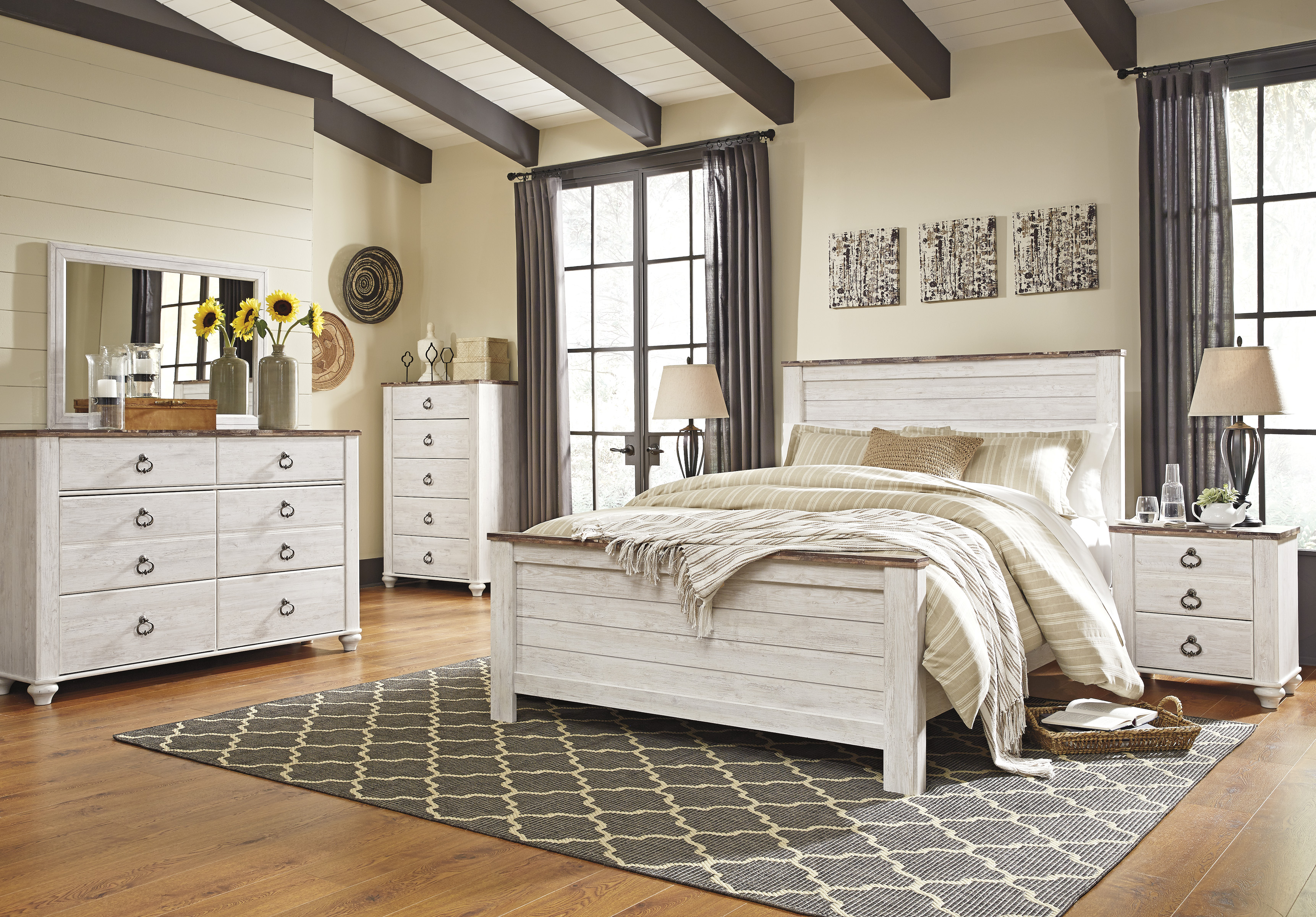Willowton Queen Panel Bed, Dresser, Mirror, Chest & Nightstand  / $33.99 A Week