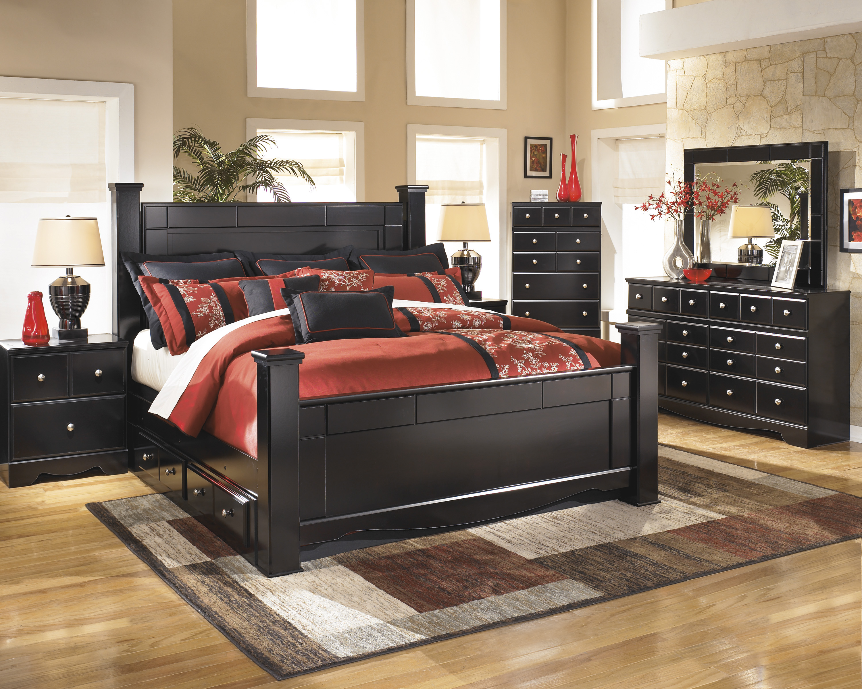 Majik Shay King Poster Storage Bed Dresser Mirror Chest Amp Nightstand Rent To Own