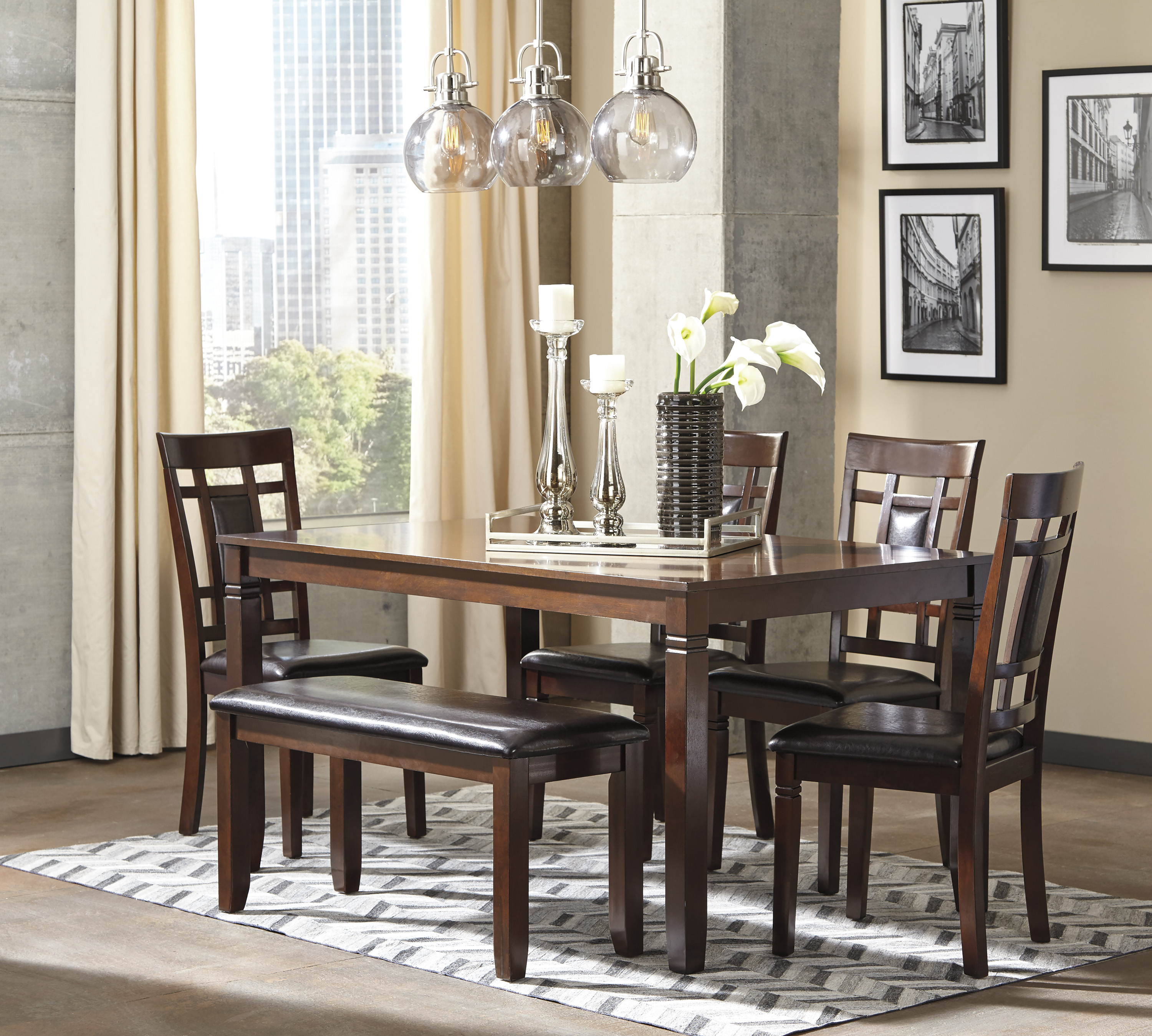 Bennox Brown Dining Room Table, Four Cha.
