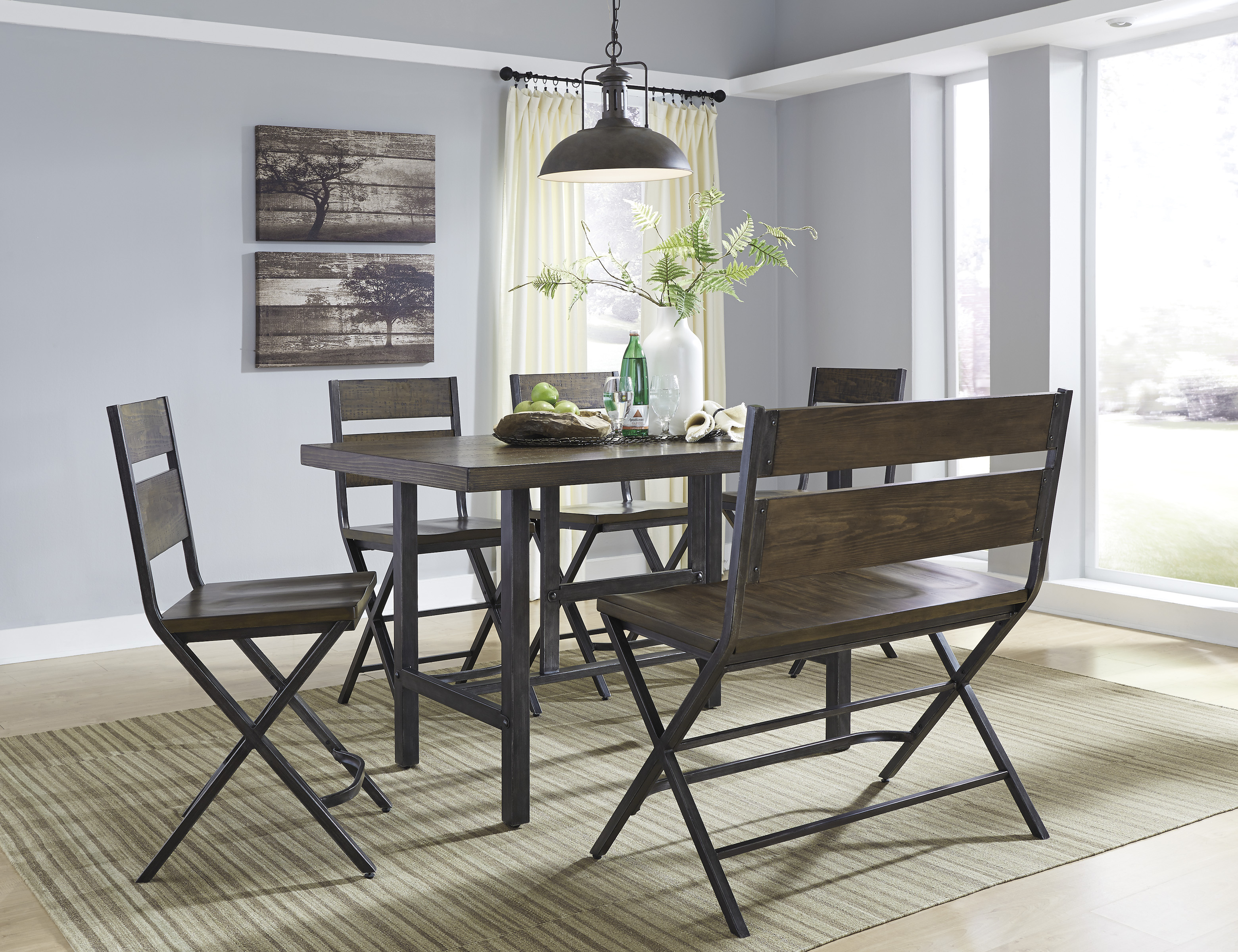 Kavara Dining Room Counter Table, Four Barstools and Double Barstool  / $23.99 A Week