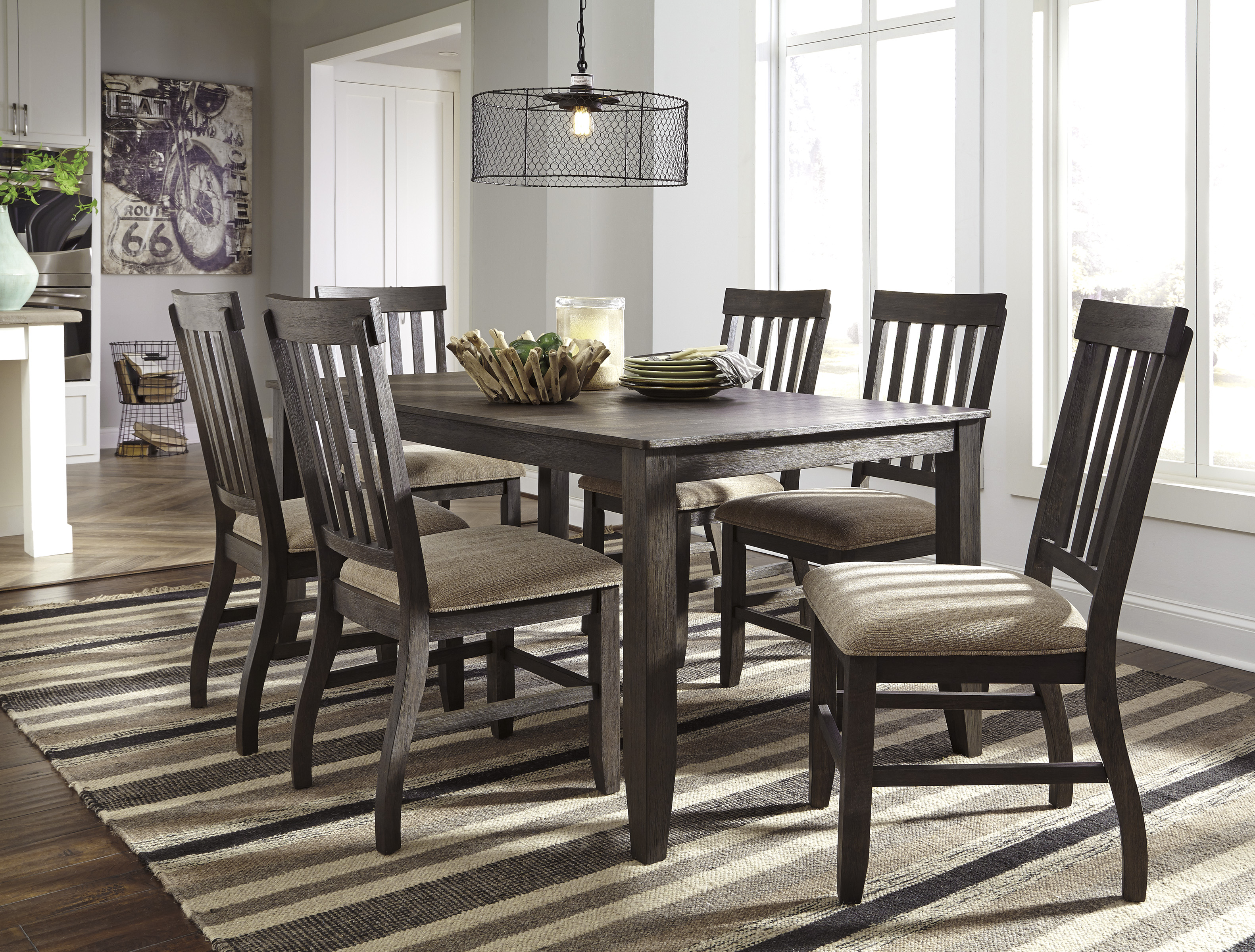 Dresbar Brown  Dining Table and Six Chairs  / $22.99 A Week
