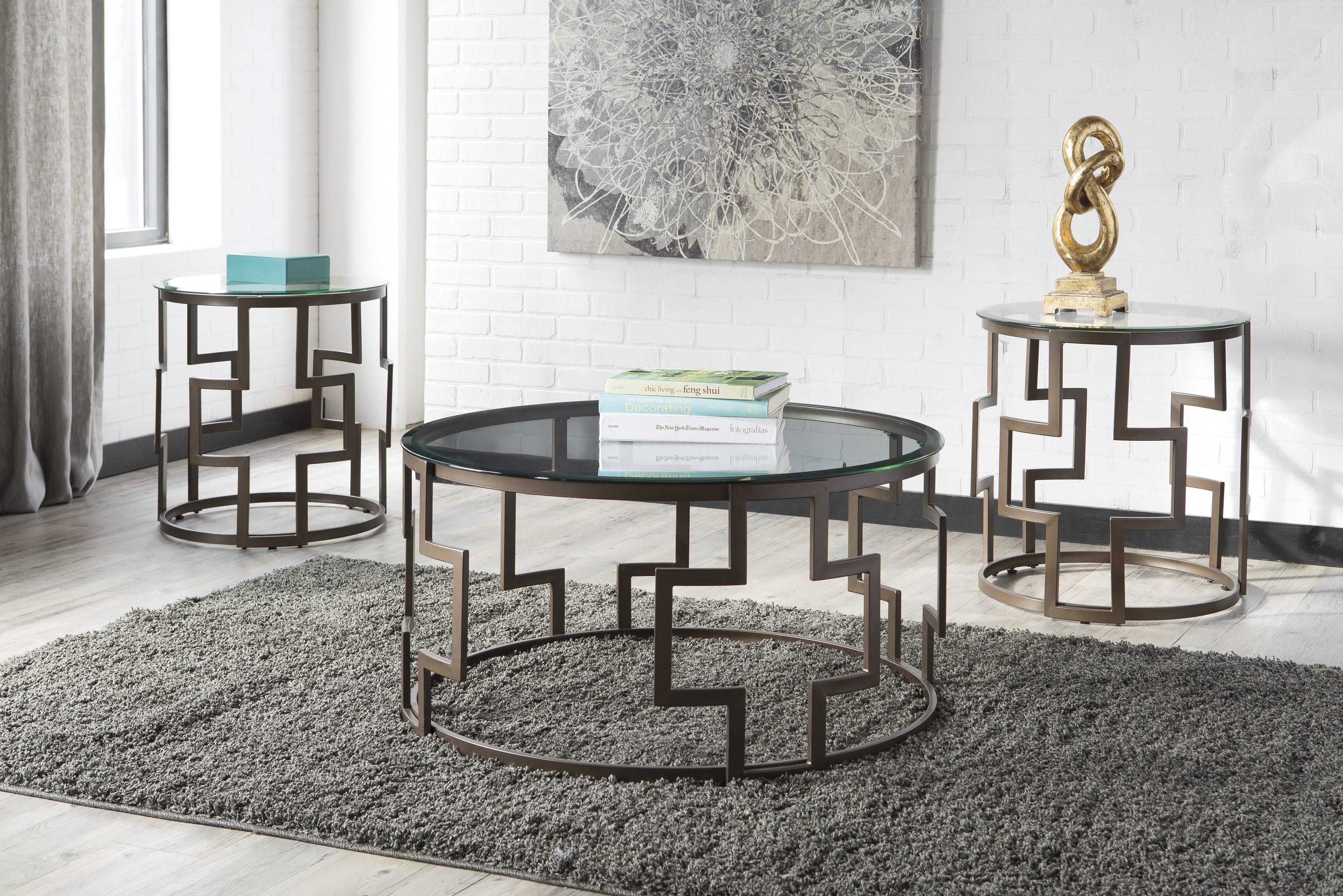 Frostine Dark Bronze Finish Coffee Table & 2 End Tables  / $10.99 A Week