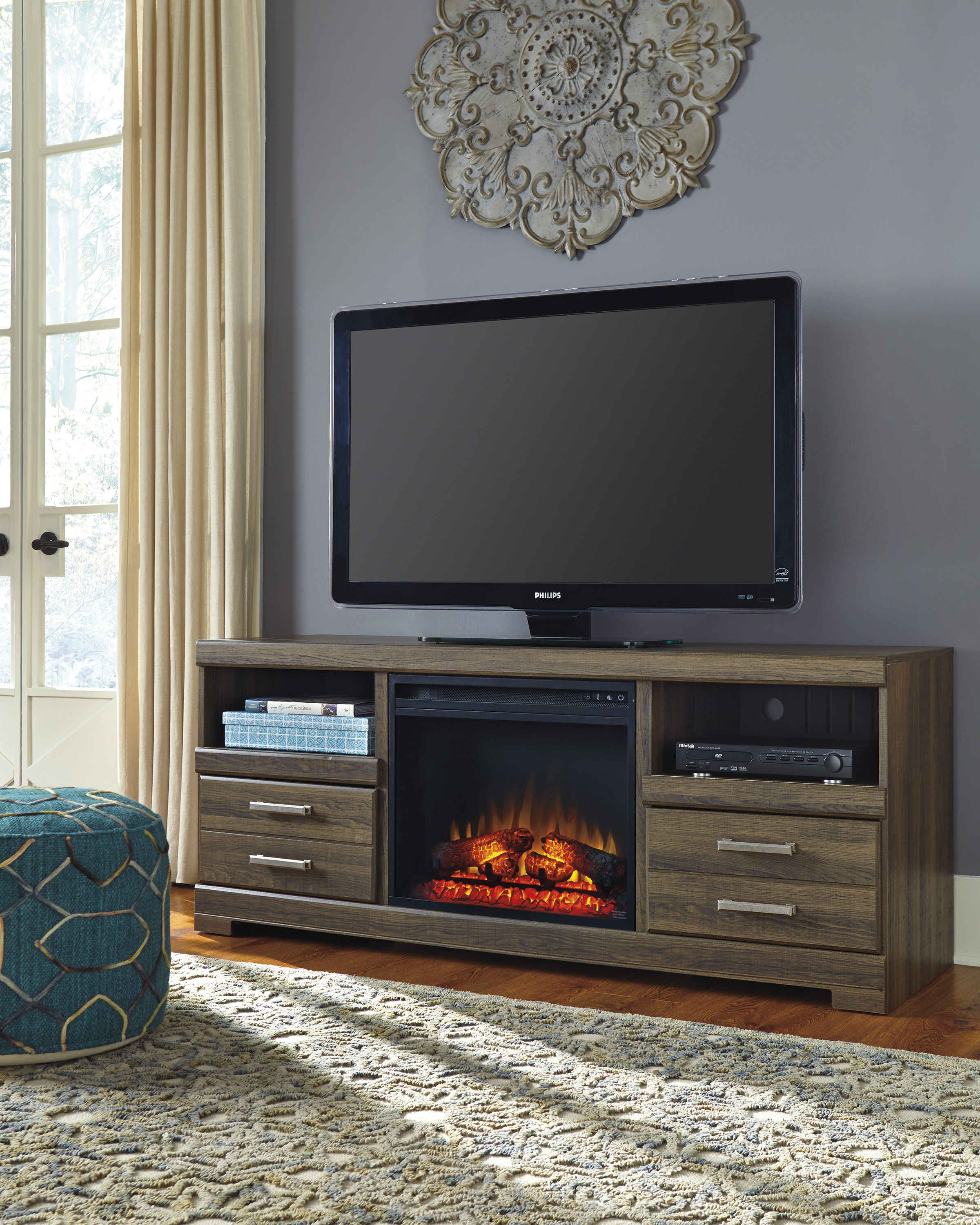 Frantin Brown Entertainment Stand With Log Fireplace  / $17.99 A Week