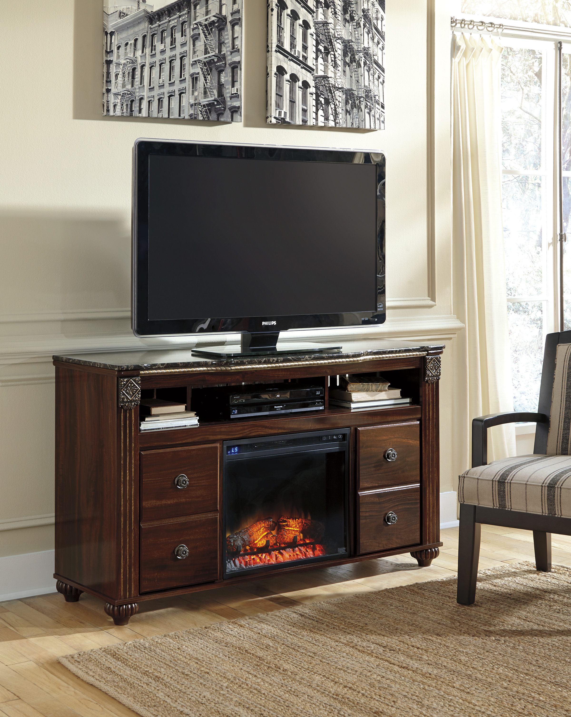 Gabriela Dark Reddish Brown Entertainment Stand With Log Fireplace  / $19.99 A Week