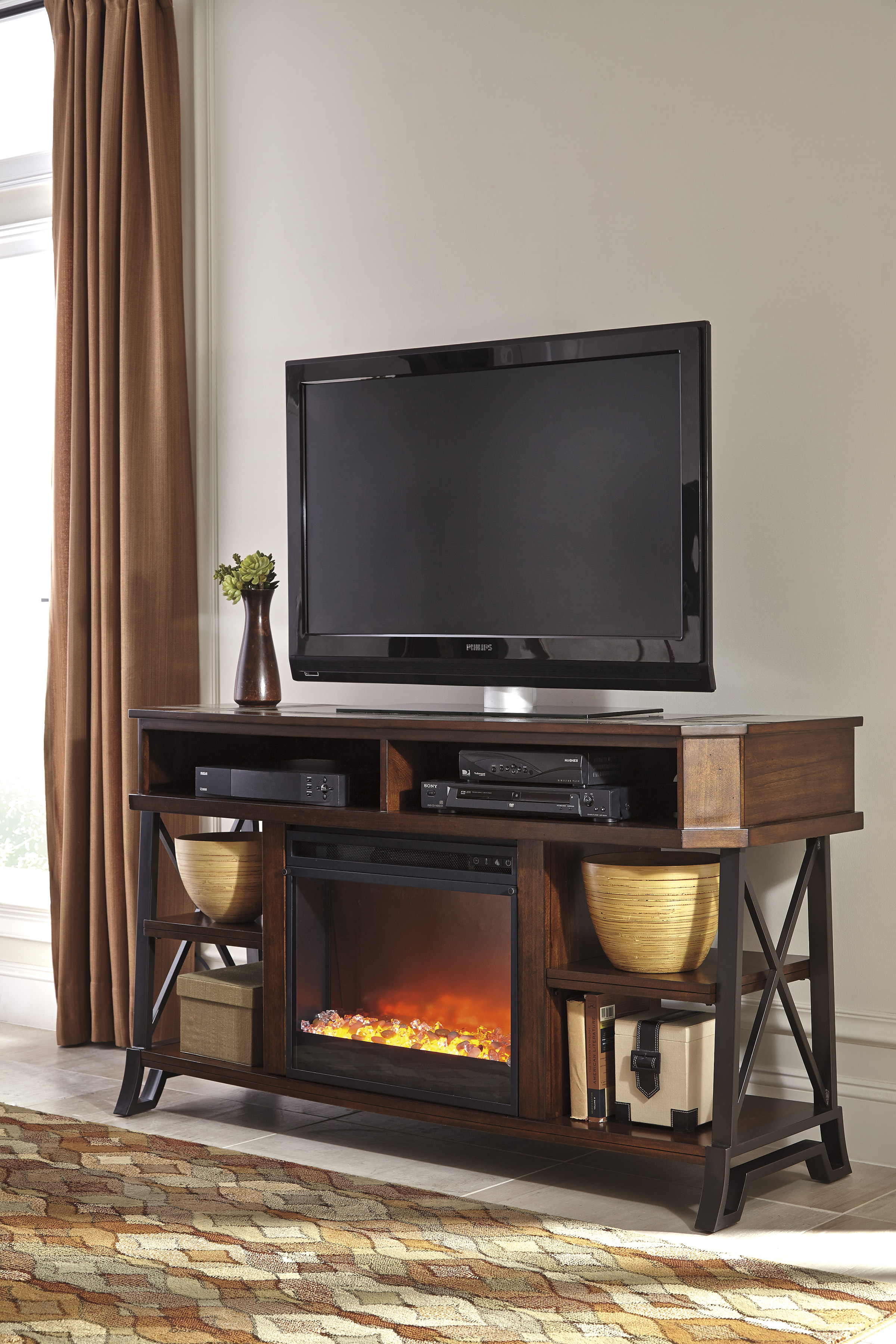 Vinasville Brown Entertainment Stand With Gl Fireplace 19 99 A Week