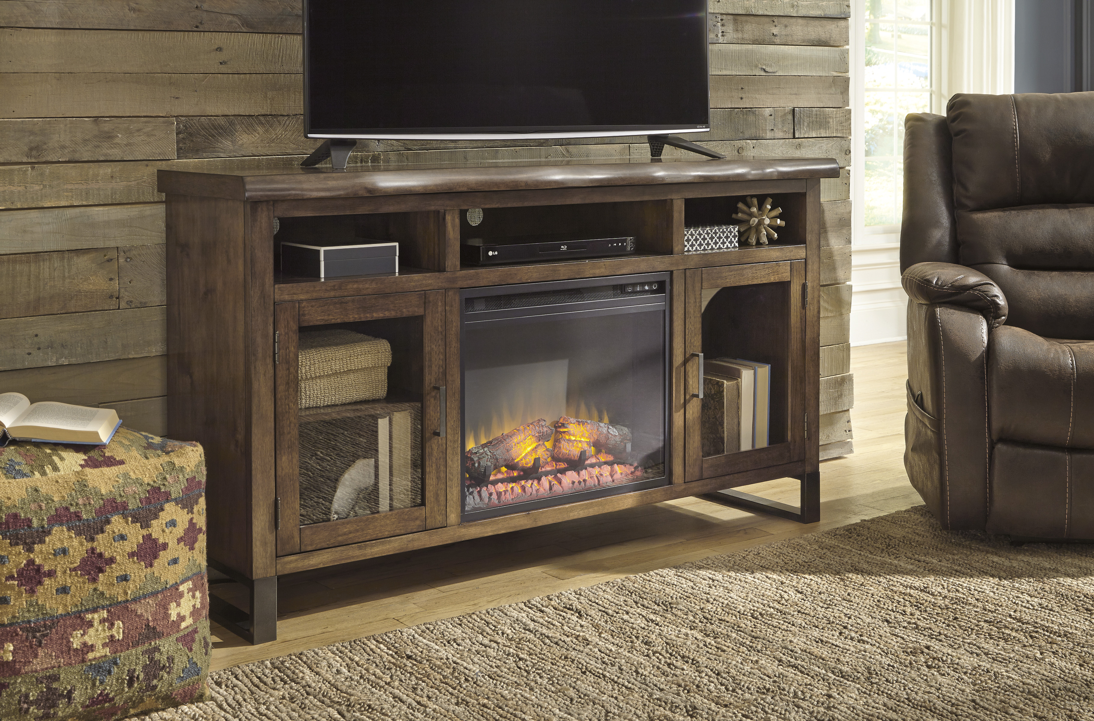 Esmarina Walnut Brown Entertainment Stand  With Log Fireplace  / $19.99 A Week