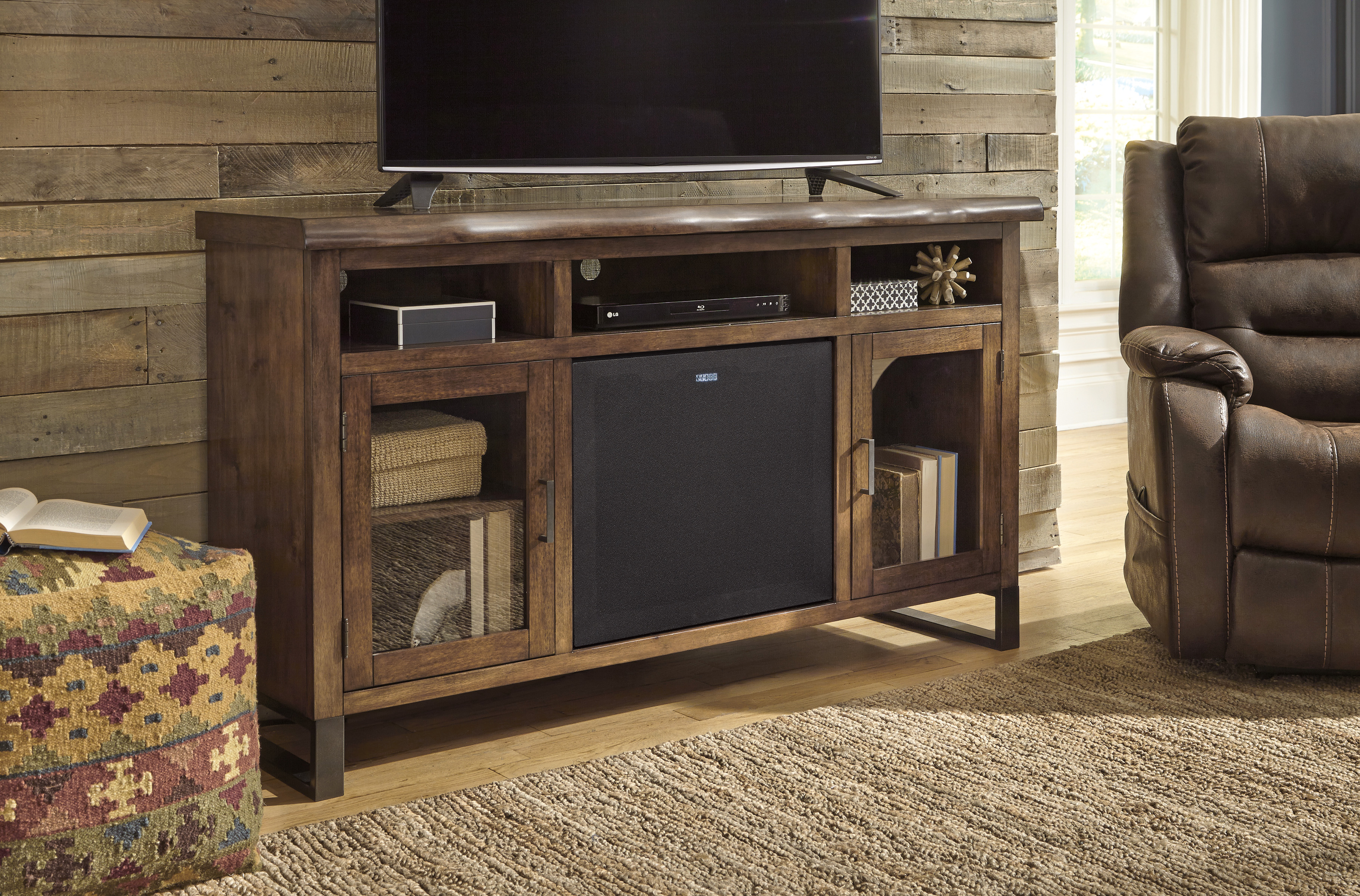 Esmarina Walnut Brown Entertainment Stand  With Large Audio Speaker  / $25.99 A Week