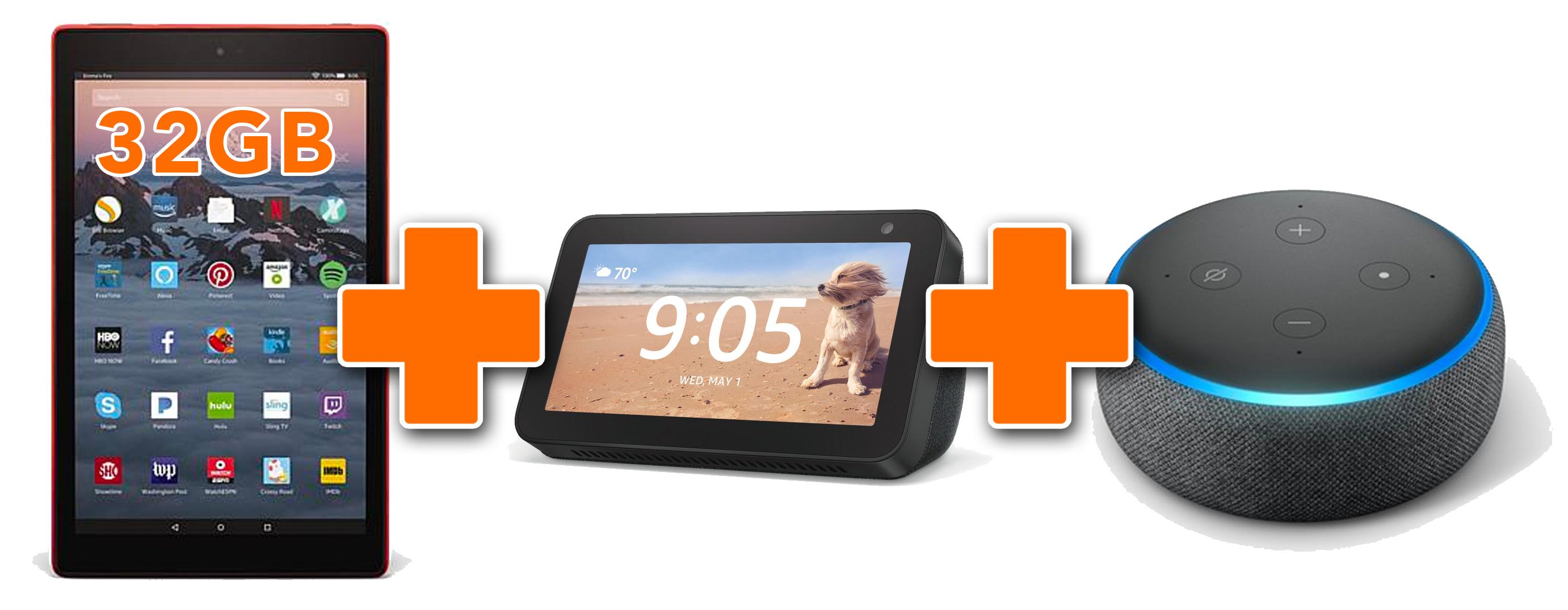 Amazon Fire HD 10 32GB, Echo Dot & Echo Show 5 Bundle  / $19.99 A Week