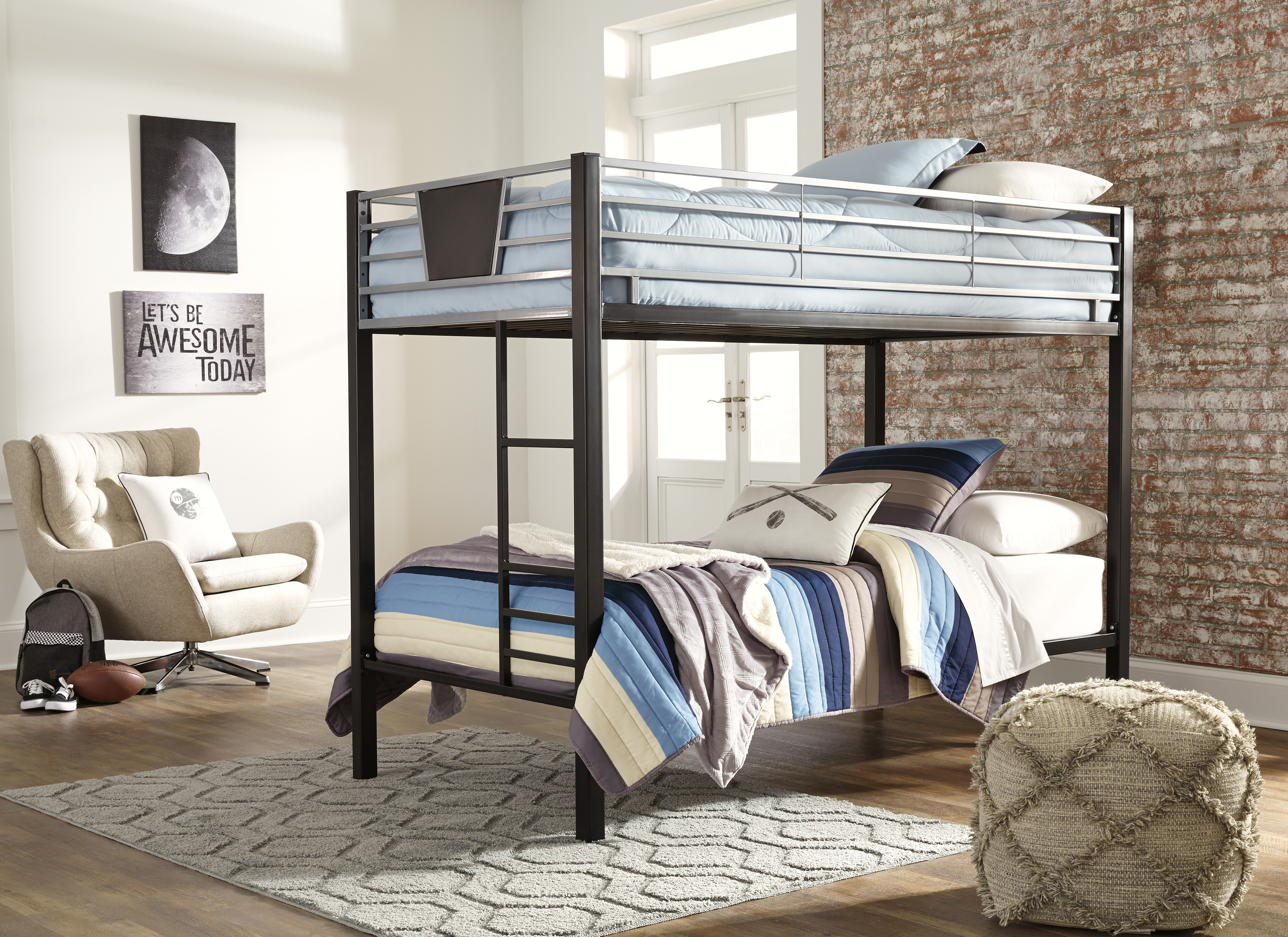 Dinsmore Black/Gray Twin Over Twin Bunk Bed  / $12.79 A Week