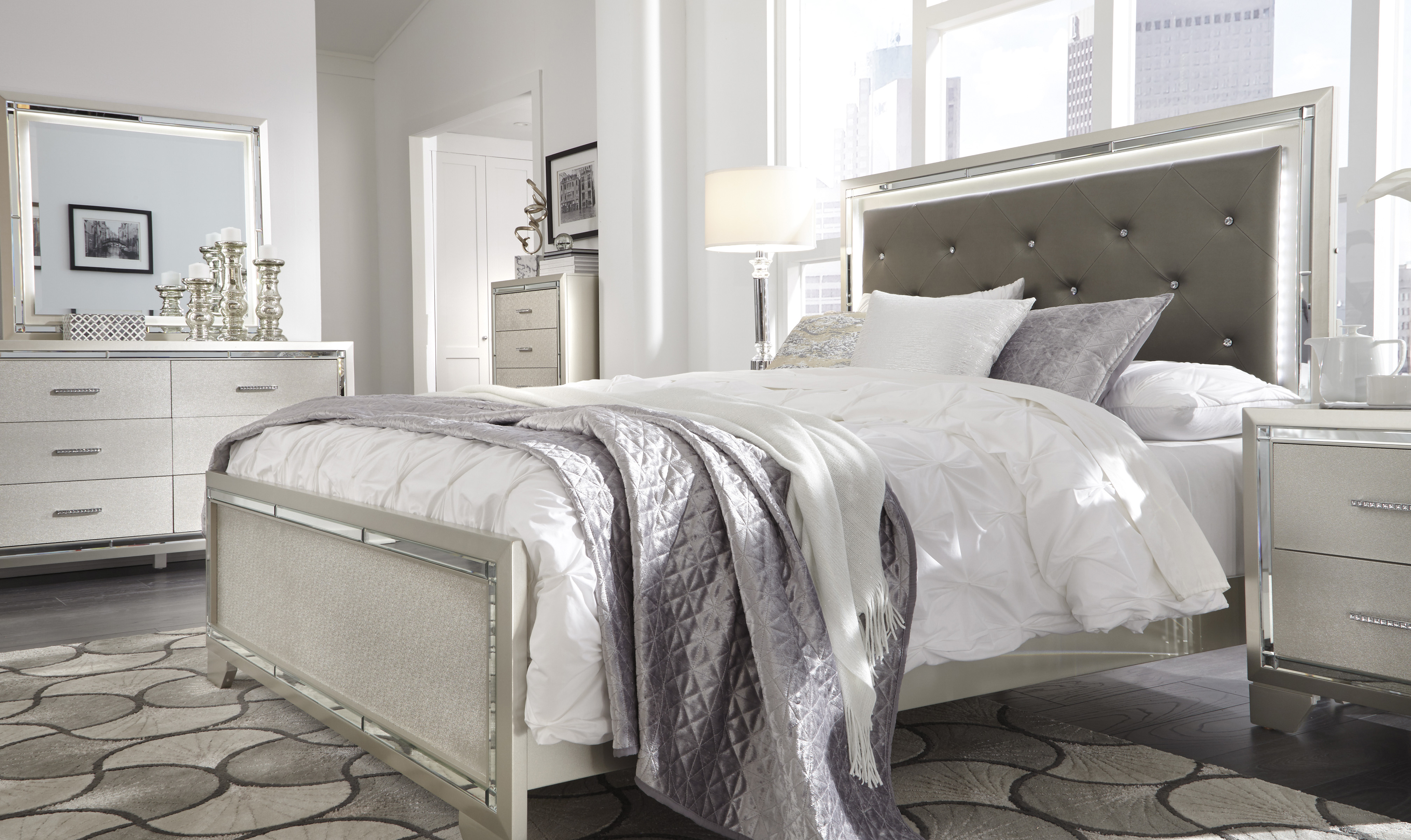Ashley Lonnix Queen LED Bedroom Set  Majik Rent To Own