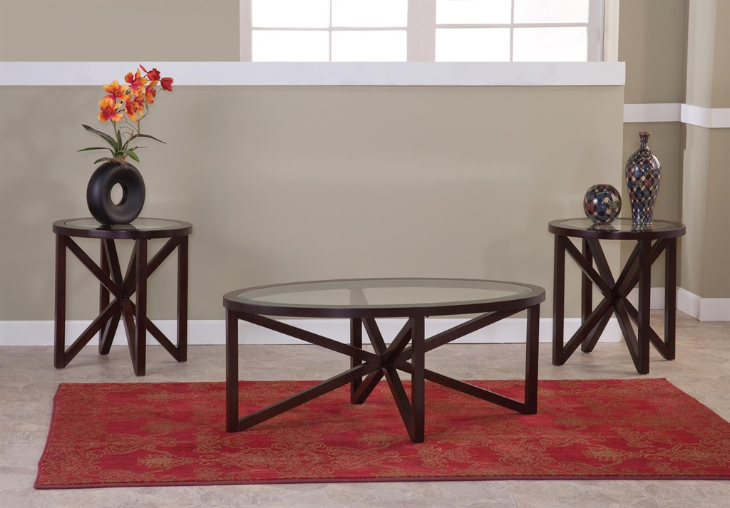 Majik lenox oval glass coffee 2 end tables rent to for Rent cocktail tables near me