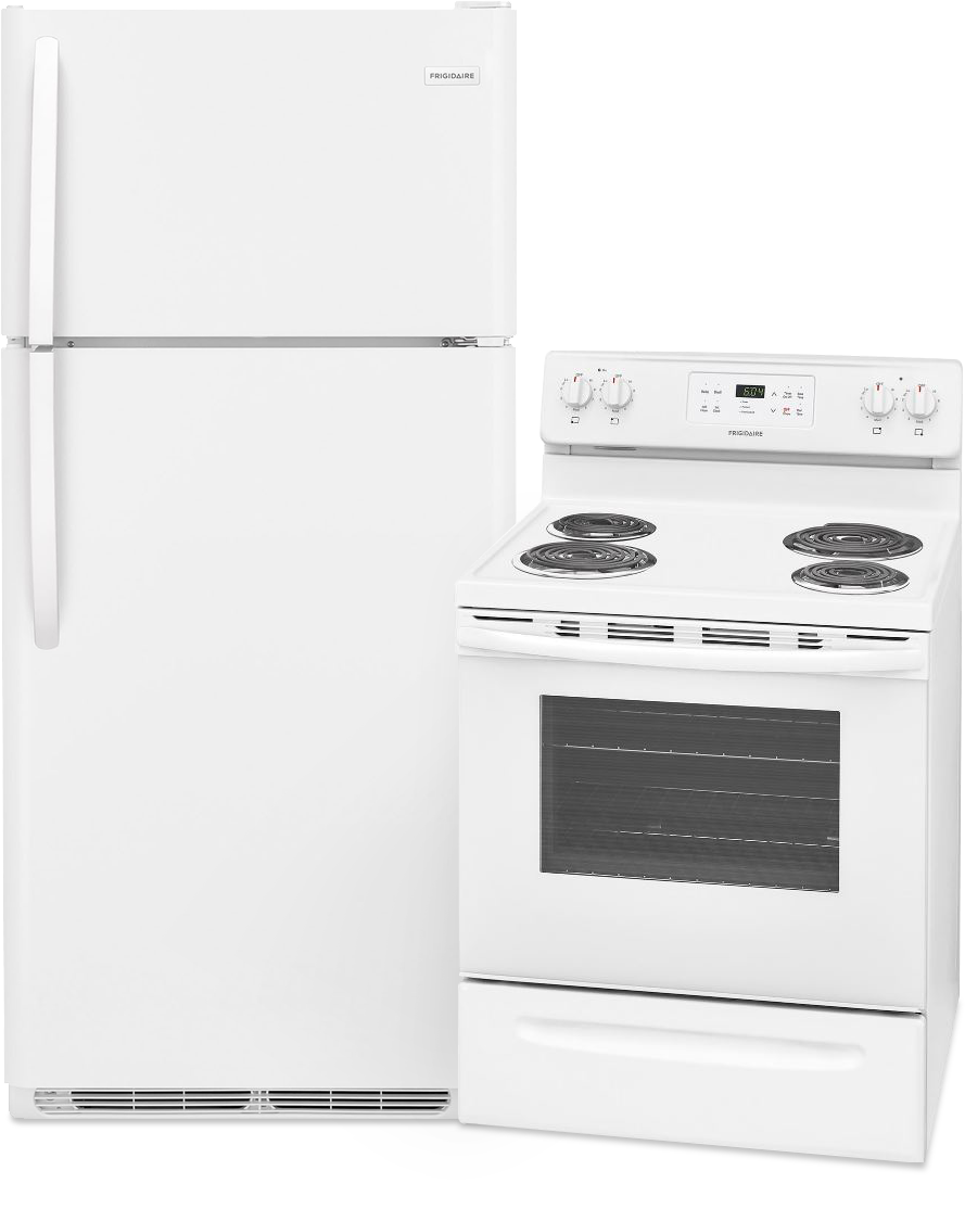18 Cu. Ft. Refrigerator and Self Cleaning Coil Top Range  / $24.99 A Week