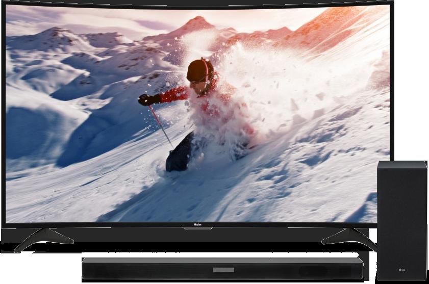 """Haier 65"""" Curved 4K TV & LG 2.1 Channel Sound Bar & Subwoofer  / $29.99 A Week"""