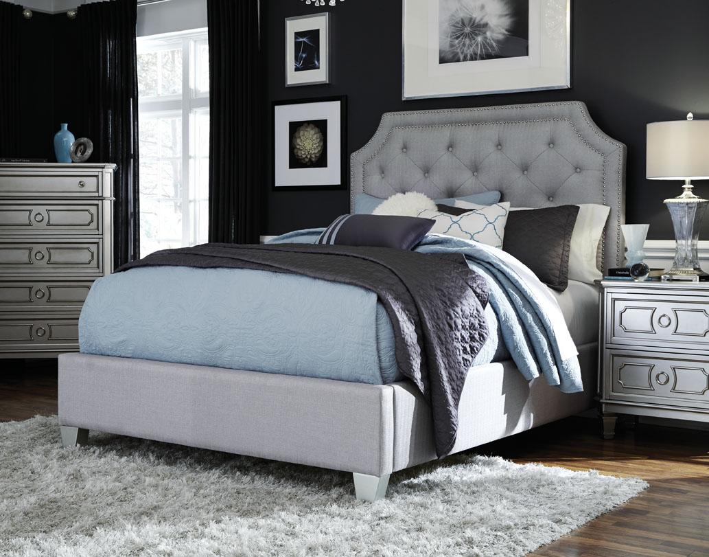 Majik windsor queen upholstered bed dresser mirror - Queen bed ideas for small room ...