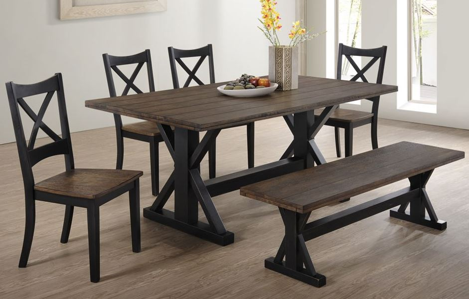 Majik Lexington Two Tone Dining Table Four Chairs And Bench