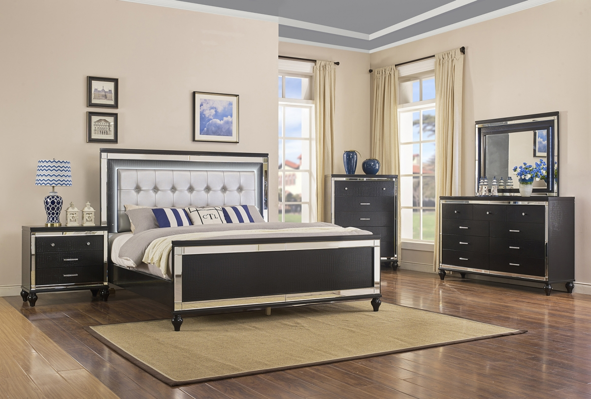 Valentino Black LED Queen Poster Bed, Dresser, Mirror, Chest & Nightstand  / $45.99 A Week