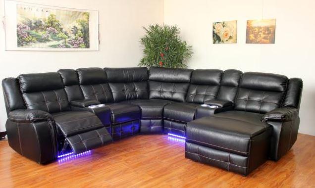 Amalfi Black LED Power Motion LED Sectional  / $38.99 A Week