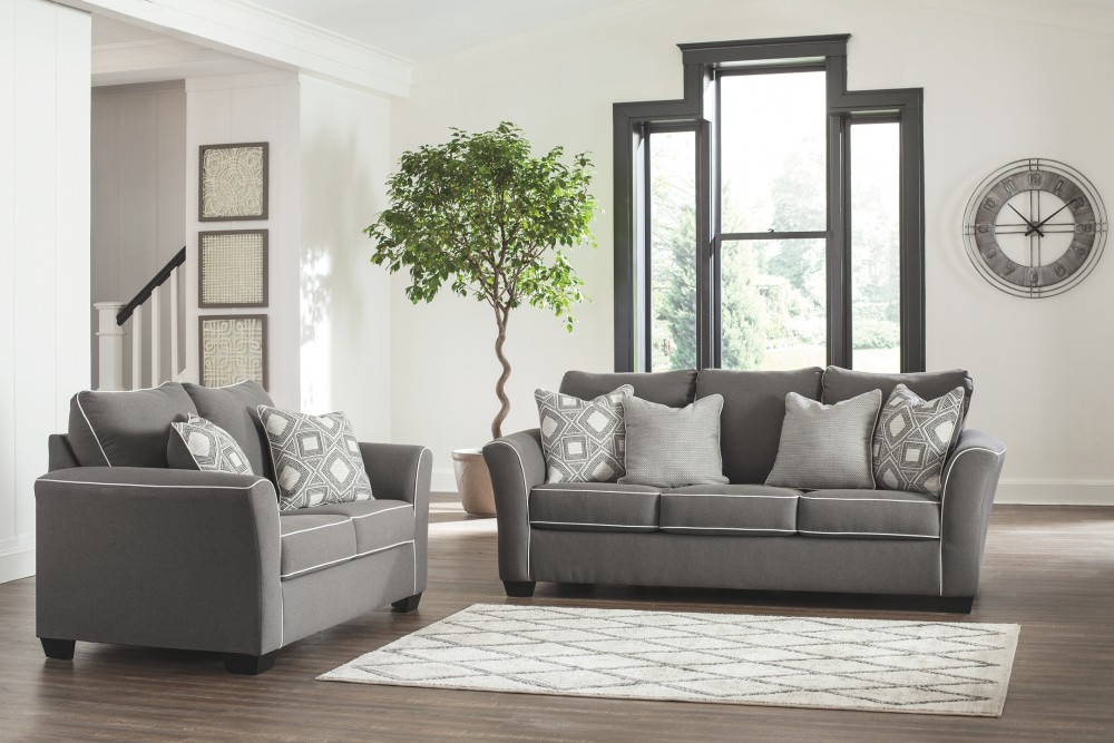 Domani Charcoal Sofa and Loveseat  / $24.39 A Week