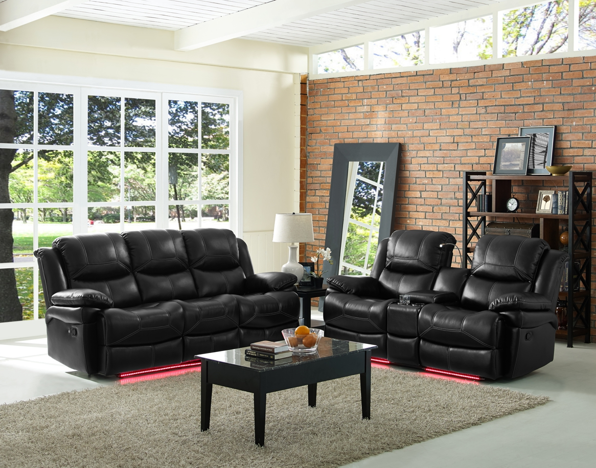 Majik | Flynn Black LED Power Reclining Sofa and Reclining Loveseat ...