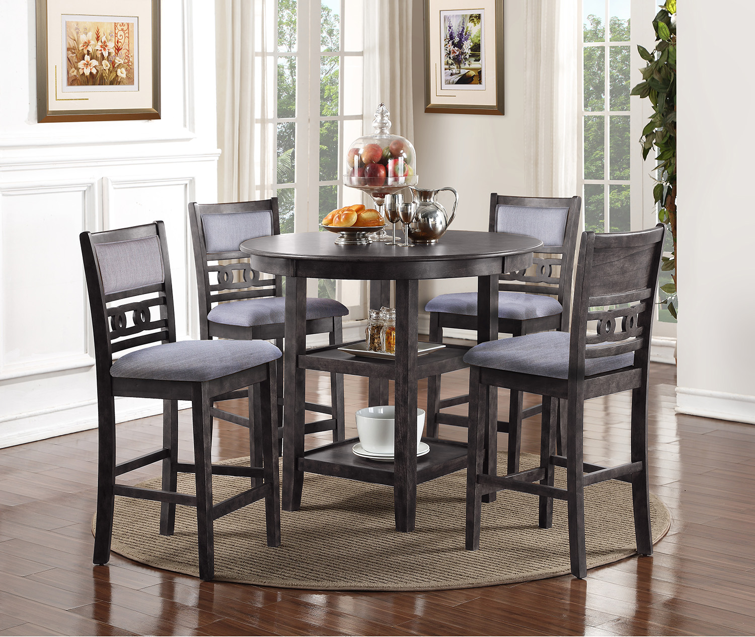 Gia Gray Counter Height Dining Table and Four Chairs  / $14.99 A Week