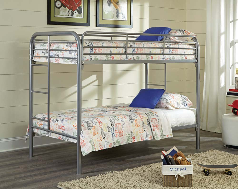 Metal Twin Twin Silver Bunk Bed Majik Rent To Own