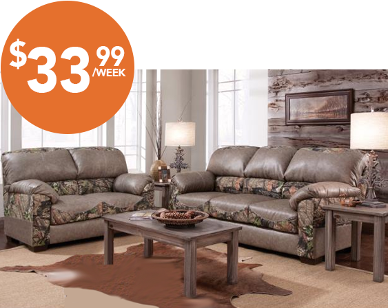 relax in style with this camo upholstered mossy oak living room set