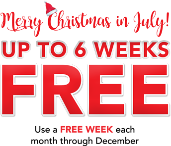 Merry Christmas in July! FREE UP TO 6 WEEKS! Rent today! SKIP ALL PAYMENTS in December & January!